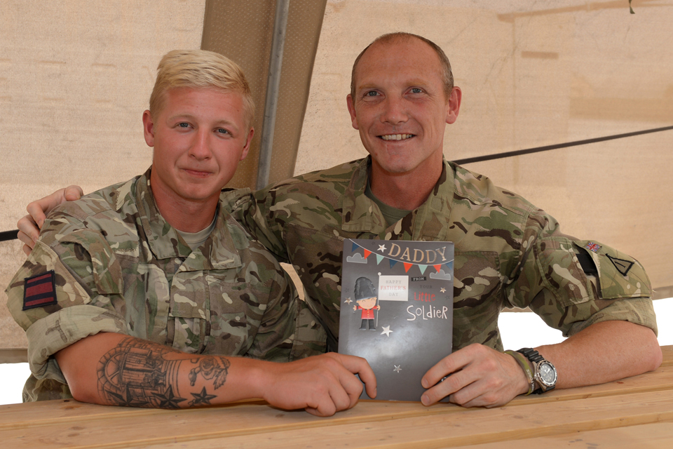 Sapper Robert Marsden gives his dad a card
