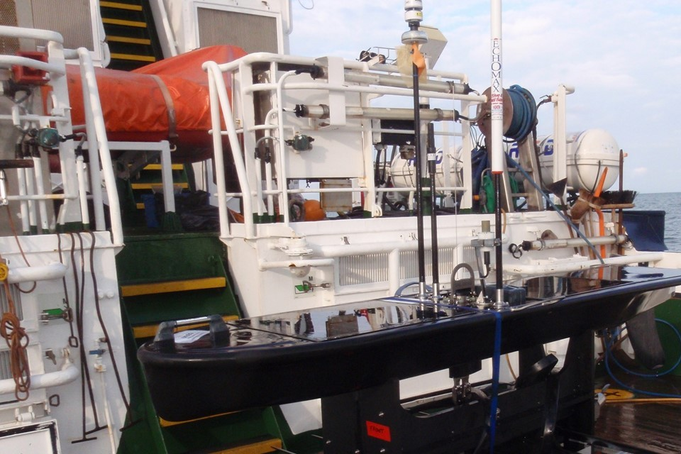 Marine monitoring equipment on the deck of a boat.