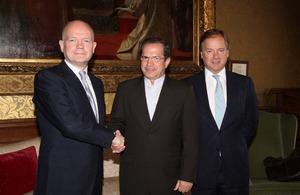 Foreign Secretary William Hague, Ecuadorean Foreign Minister Ricardo Patiño and Foreign Office Minister Hugo Swire
