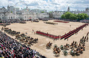 Troops and horses of the Household Division Trooping the Colour on Horse Guards Parade [Picture: Corporal Paul Shaw, Crown copyright]