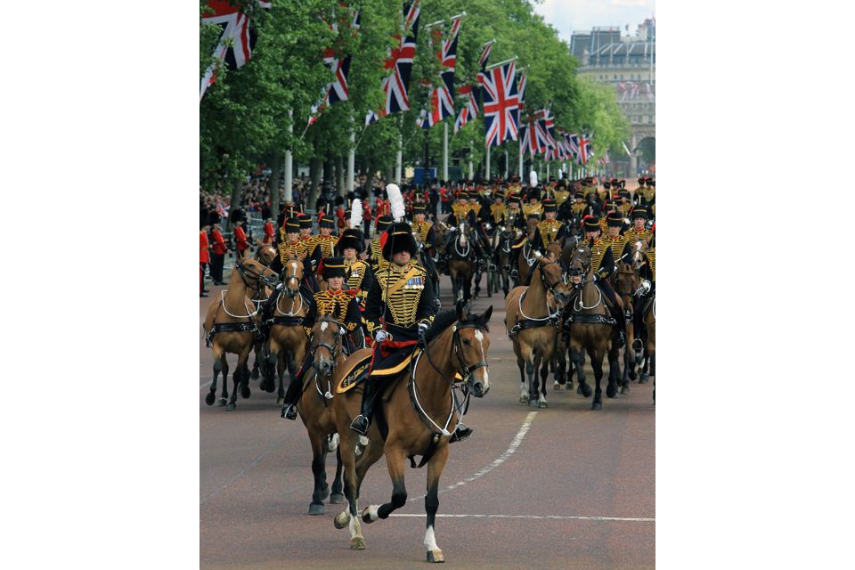 Troops and horses of the Household Division on The Mall