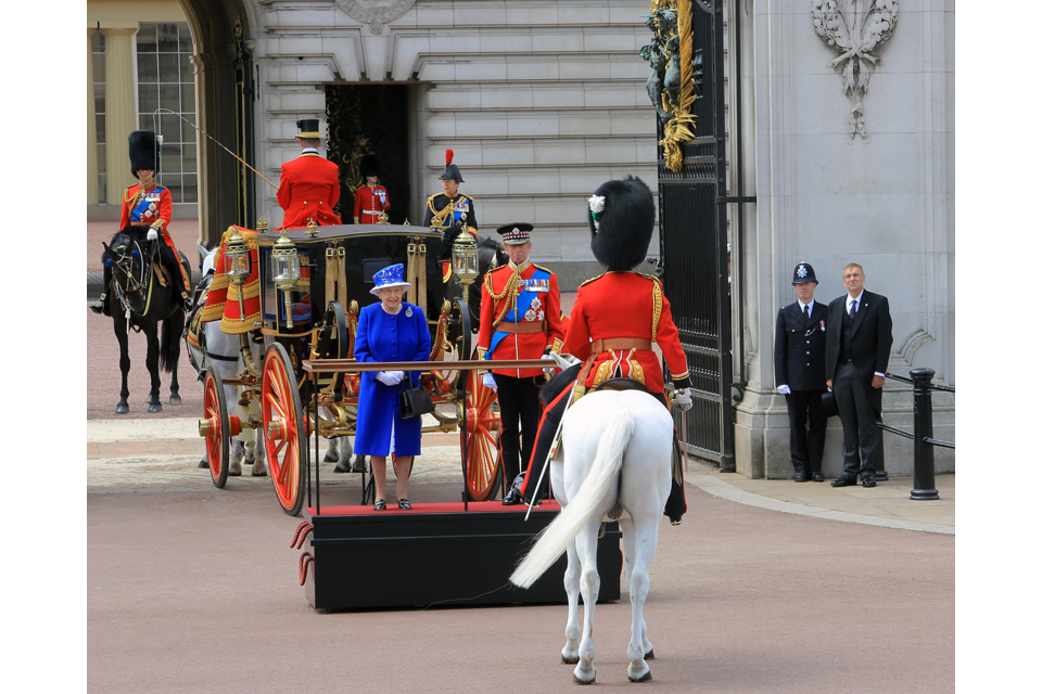 Her Majesty The Queen and the Duke of Kent are greeted by a mounted officer of the Household Cavalry