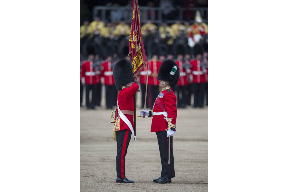 The colour of the 1st Battalion Welsh Guards is trooped