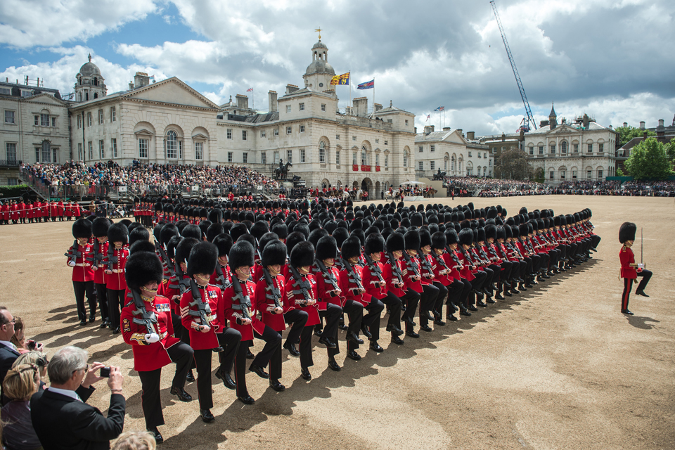 Members of the Foot Guards Trooping the Colour