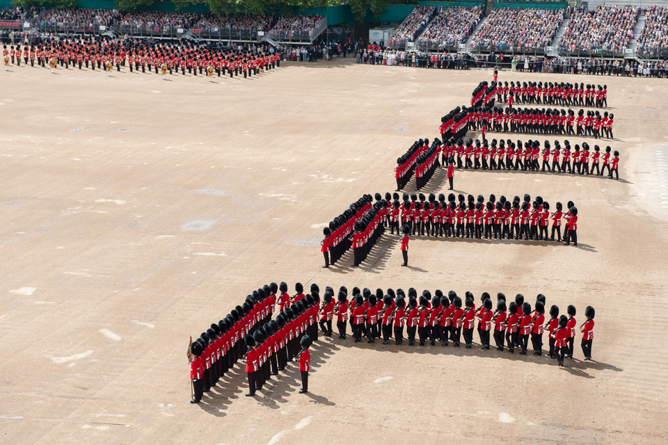 Foot Guards in formation during Trooping the Colour