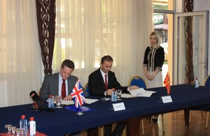 Ambassador Yvon and minister Ademi sign Memorandum of Understanding for project support.