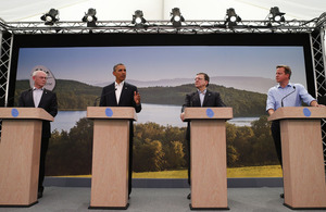 G8 press conference to announce negotiations for a new EU-US trade deal. Photo: Andrew Winning/PA Wire.