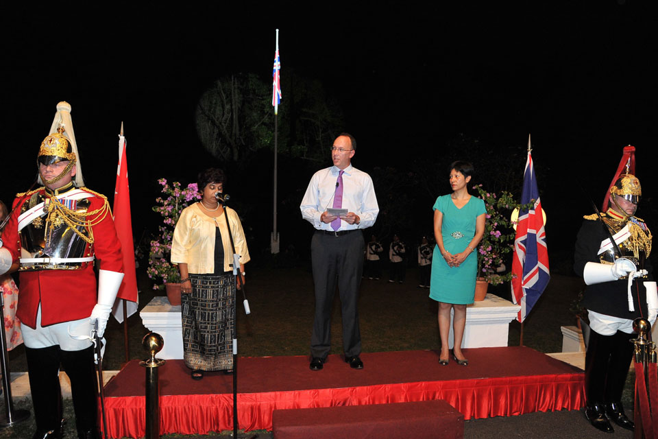 Ms Joanna Paul, Soprano Soloist; British High Commissioner to Singapore, His Excellency Antony Phillipson; Ms Indranee Rajah, Senior Minister of State, Ministry of Law and Ministry of Education