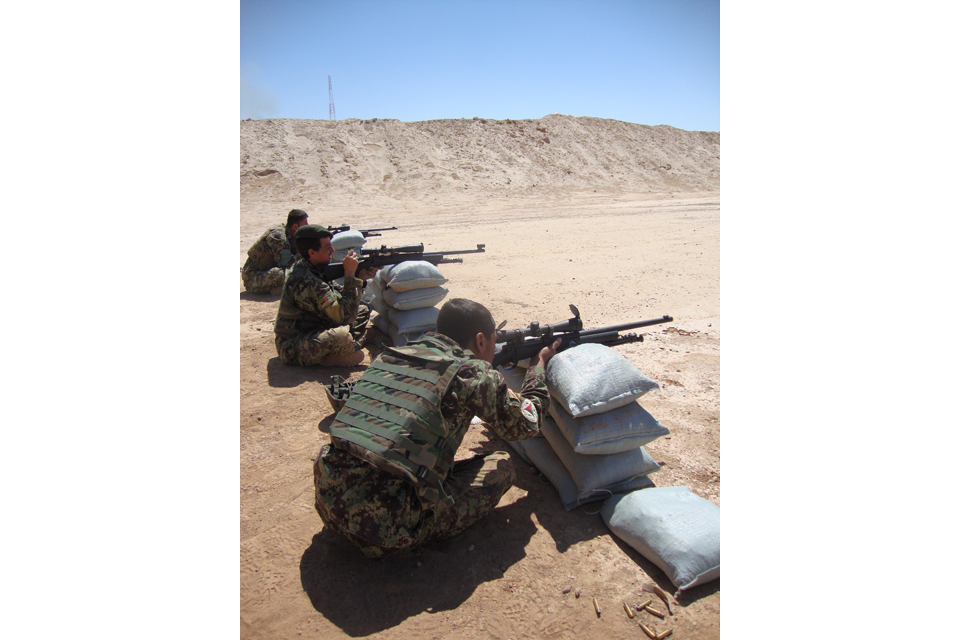 Afghan soldiers on the firing range