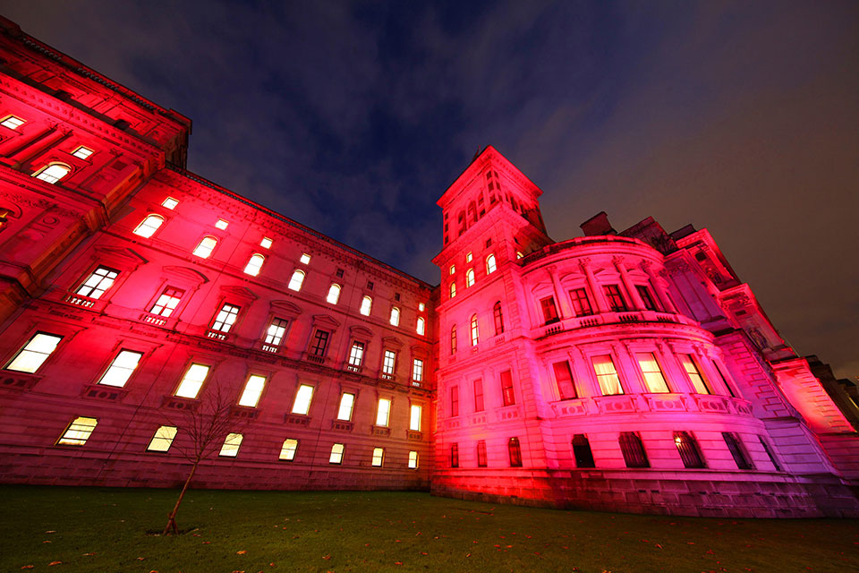 The Foreign, Commonwealth and Development Office lit up to mark Red Wednesday on 25 November 2020, in support of persecuted Christians around the world.