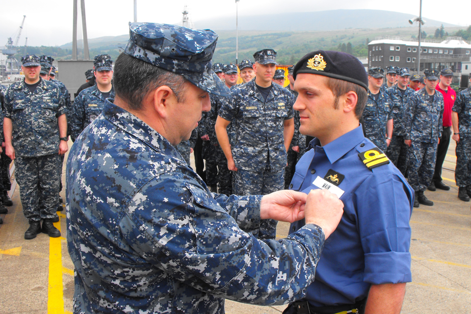 Submariner Lieutenant Matt Main (right)
