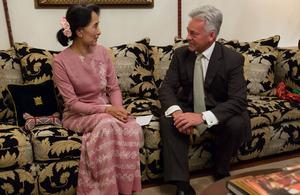 Development Minister Alan Duncan meets Aung San Suu Kyi. Picture: Tim Mitzman