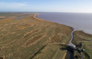 An aerial view of the north bank of the Humber estuary
