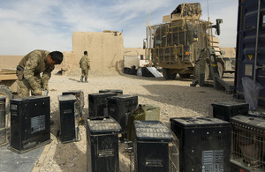 Soldiers pack equipment into ISO containers ready for a combat logistic patrol to return the kit to Camp Bastion (library image) [Picture: Corporal Jamie Peters, Crown copyright]