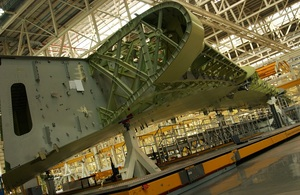 Airbus wing being assembled at Broughton