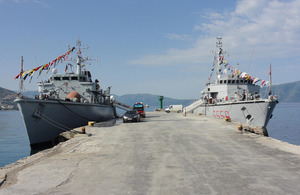HMS Ledbury (left) alongside in the Albanian port of Vlore [Picture: via MOD]