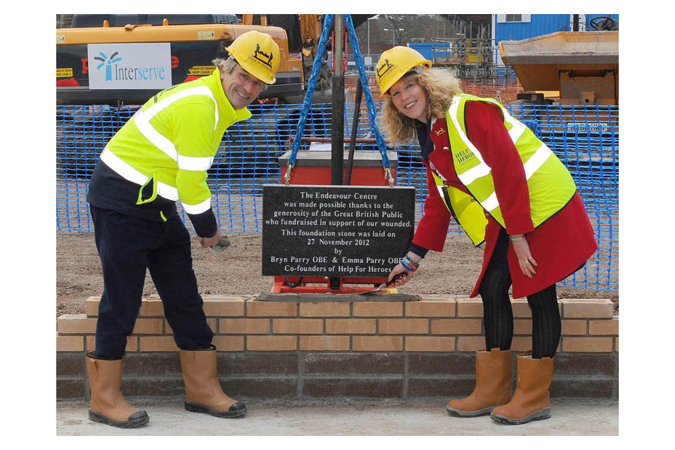 Bryn and Emma Parry with the Endeavour Centre foundation stone