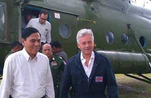 Alan Duncan visits IDP Camps in Myaybon Township accompanied by Rakhine State Chief Minister U Hla Maung Tin