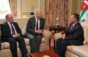 Foreign Secretary William Hague and Foreign Office Minister Alistair Burt meeting His Majesty King Abdullah II of Jordan.