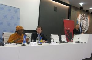 Ambassador Nigel Casey and UN Special Representative Zainab Bangura at the press conference in Sarajevo