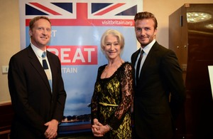 HM Consul General Brian Davidson with guests Dame Helen Mirren and David Beckham