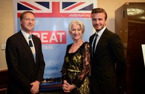 HM Consul General Brian Davidson with guests Dame Helen Mirren and David Beckham
