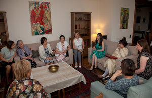 Rt Hon Baroness Warsi, Senior FCO Minister of State, Her Majesty's Ambassador Judith Farnworth with leading Kyrgyz women