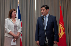 Her Majesty's Ambassador Judith Farnworth and State Secretary at the Kyrgyz Foreign Affairs Ministry Asein Isaev