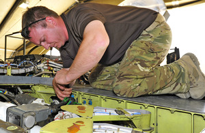 A member of the Engineering Flight maintaining a Tornado GR4 [Picture: Corporal Babbs Robinson, Crown copyright]