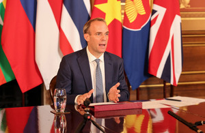 Foreign Secretary attending the virtual ceremony call with ASEAN