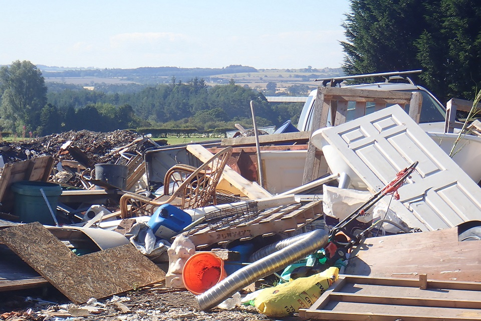 Images shows waste dumped on the land at Old Swarland