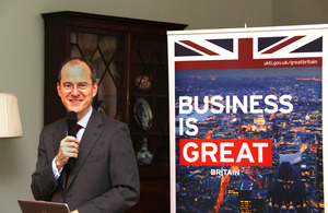 British Ambassador to China, Sebastian Wood made an opening speech for RIBA's trade mission.