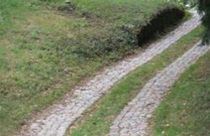 Hand-packed cobbles can make effective surfaces for roads