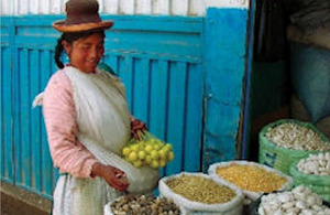 Chuño potatoes at market in Bolivia