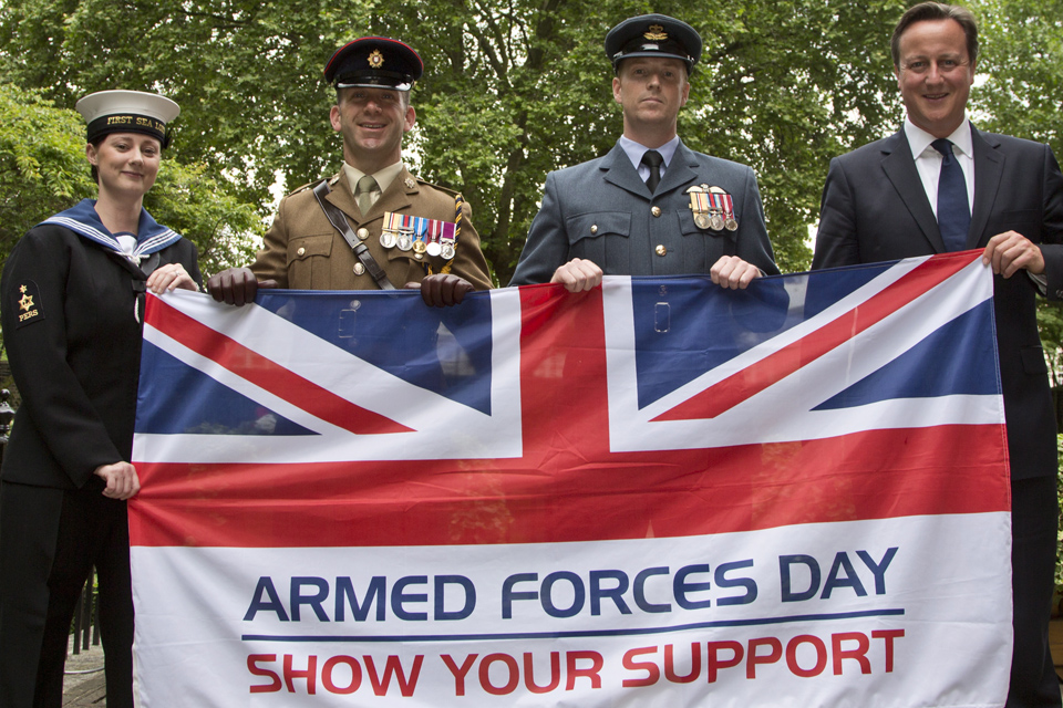 Prime Minister David Cameron with Service personnel