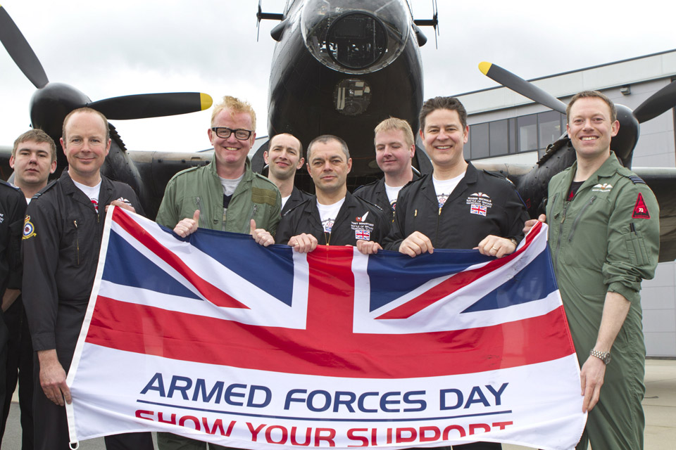 DJ Chris Evans with members of the RAF's Battle of Britain Memorial Flight