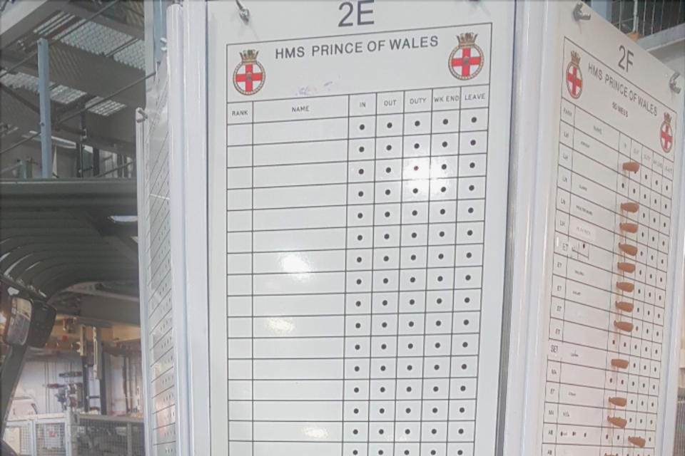 Traditional peg board on HMS Prince of Wales