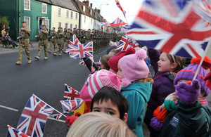 Soldiers parade through Warminster