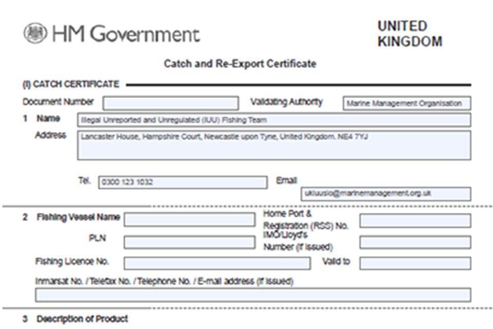 Catch certificate.