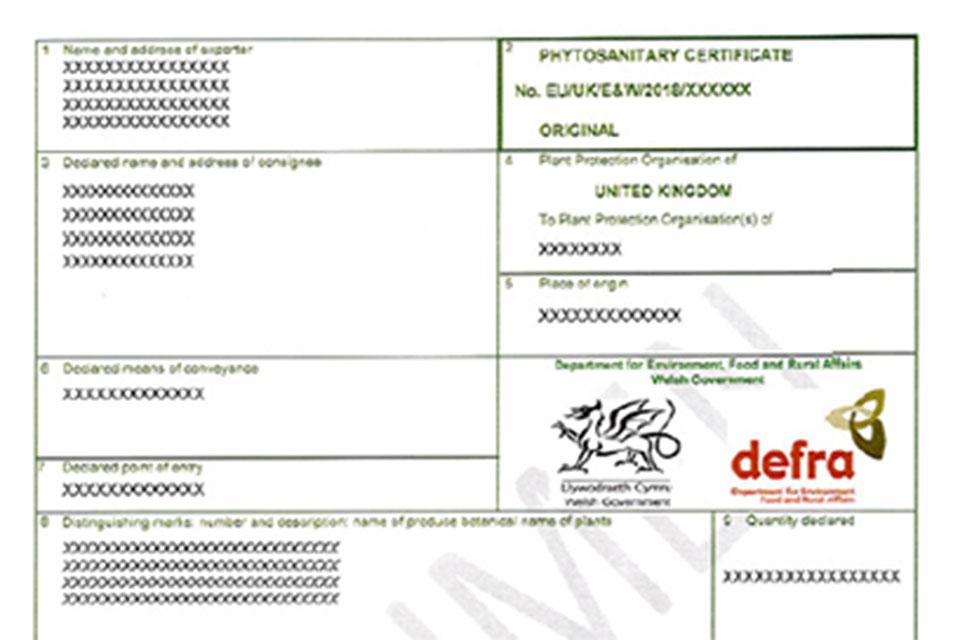 Phytosanitary certificate.