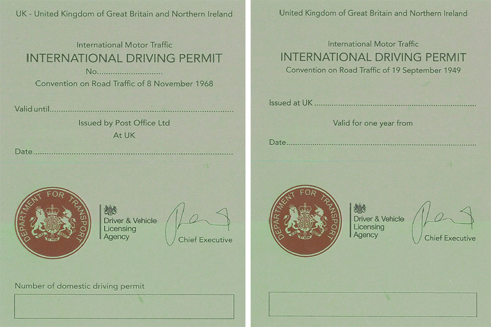 1968 and 1949 international driving permits.