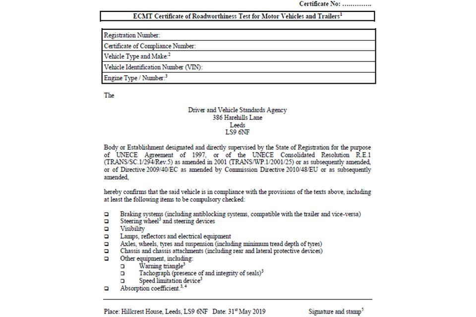 Certificate of roadworthiness.