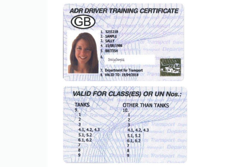 ADR dangerous goods driver card.