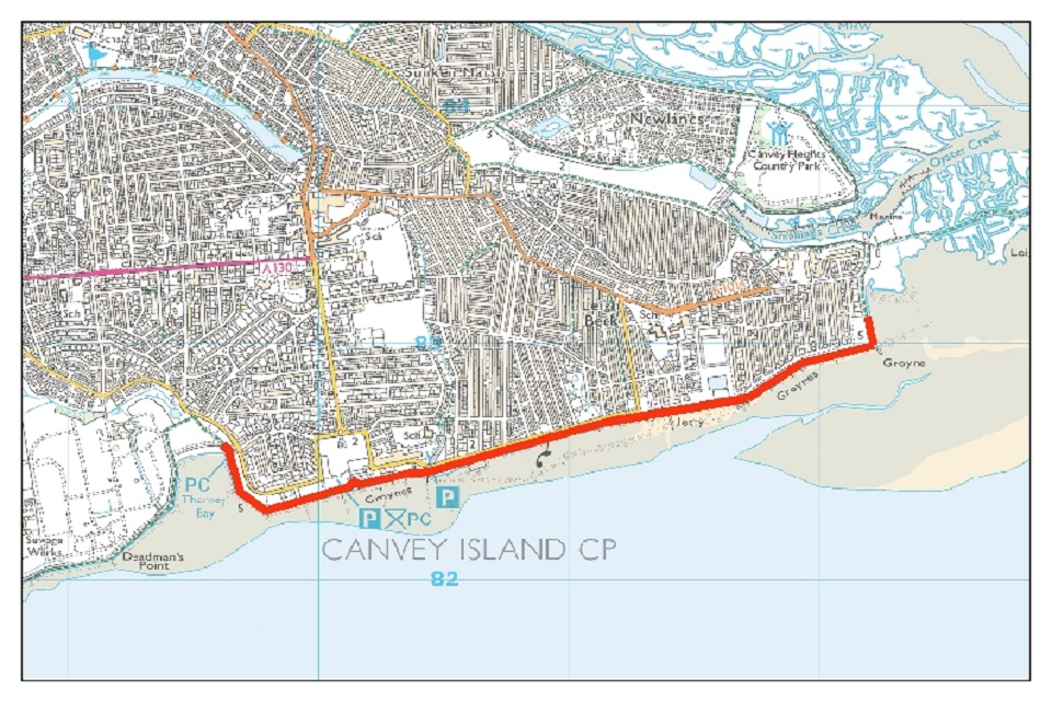 Image shows a map of Canvey Island southern shoreline, with a red line on the lower side