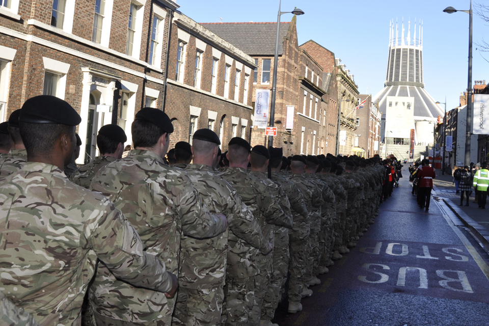 Soldiers parade through Liverpool