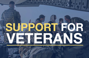 Image of servicemen helping Afghans onto a plane. Text reads: Support for veterans.