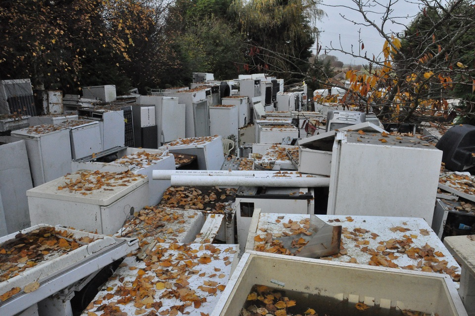 Image shows a large area enclosed by trees that is completely full of old fridges