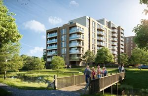 Artist's impression of an apartment block surrounded by a park. 4 older people walk across a bridge, smiling.