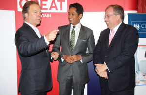 (left to right) British Foreign Minister Hugo Swire,Malaysian Youth & Sports Minister Khairy Jamaluddin and British High Commissioner to Malaysia Simon Featherstone at the UK-Malaysia Alumni launch