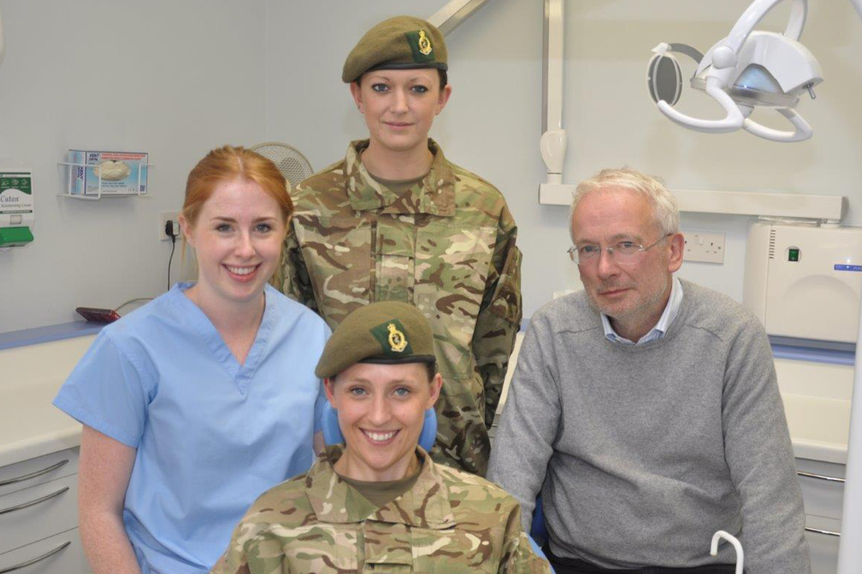 From left: Hannah Clark, Private Kim Bennington, Private Angela Benson (seated) and Doctor William Innes
